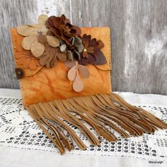 8aa225e5dcbe Leather Clutch with Leather Flowers and Fringe Small Leather Bag - Rustic  Boho Style - Marbled