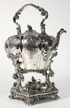 English sterling silver tea kettle on stand w/ warmer, elaborate floral repousse` detail...  by; Paul Storr, London