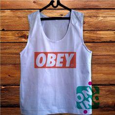 ecc7aaaa561ba4 Obey Logo Men s White Cotton Solid Tank Top White Cotton