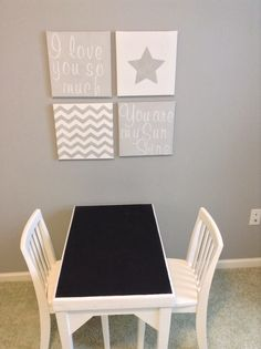 Unisex Children's/Grandchildren's Room, custom Wall Art on Canvas Chevron, Stars, You are my Sunshine and Painted Chalkboard top on Children's Desk Table. Design and custom art by Diane Hasso of Faux-Real, LLC. www.FauxRealMi.com