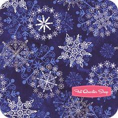 Stonehenge Metallic Cobalt Blue Falling Snowflakes Yardage SKU# 20102M-49 - Fat Quarter Shop