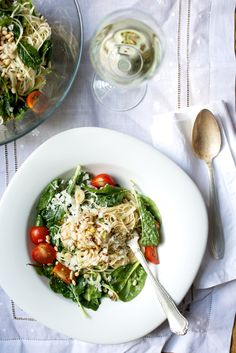 Creamy Pasta and Wilted Greens in a Lemon Wine Sauce