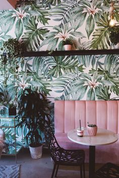 Whimsy Soul - Holy Matcha coffee in San Diego North Park. Pink Couch and palm leaf wall paper.