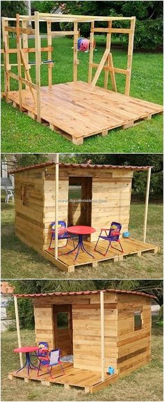 That is an creative and so as an alternative created wooden pallet house! - Pallet House - That is an creative and so as an alternative created wooden pallet house! Being settled with the fi - Outdoor Pallet Projects, Pallet Crafts, Diy Projects, Pallet Fort, Pallet Playhouse, Pallet Ideas Easy, Wood Pallet Furniture, Garden Furniture, Diy Furniture