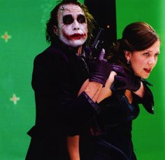 Heath Ledger and Maggie Gyllenhaal film the party scene of The Dark Knight.