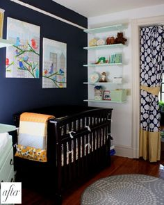 #Navy and #White #Nursery Inspiration---i love the bird canvas in the background