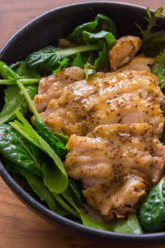 Grilled Chicken with Honey Mustard Dressing Savory chicken grilled, sliced and served with baby greens and a honey mustard dressing. Grilled Honey Mustard Chicken, Grilled Chicken, Honey Chicken, Chicken Salad, My Burger, Clean Eating, Healthy Eating, Cooking Recipes, Healthy Recipes