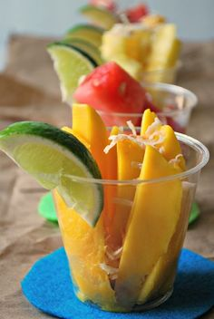 Fiesta Fruit Cups: Made with mango, pineapple and watermelon, and garnished with lime and coconut