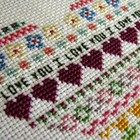 I Love You Heart Embroidery Cross Stitch, Sweet Love For Your Walls