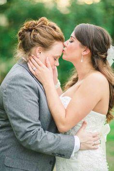 Lesbian wedding portrait | Texas Traditional Villa Lesbian Wedding | Equally Wed - LGBTQ Weddings