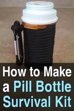 Survival At Home has a tutorial on how to make a survival kit with a prescription bottle and 18 items including paracord, matches, a mini flashlight, etc. Survival Supplies, Survival Food, Camping Survival, Outdoor Survival, Survival Prepping, Emergency Preparedness, Survival Skills, Survival Hacks, Survival Fishing