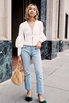 Get away with wearing your most lived-in denim by styling it with statement pieces that speak all by themselves. Furry kitten heels and an equally furry bag? This look proves the risk is totally...