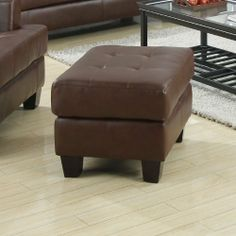 Brown Bonded Leather Ottoman by Coaster Furniture by Coaster Home Furnishings. $128.61. Assembly Required: No. Type Of Packaging: BOX. Fabric Color: Dark Brown. Style Name: CON (CONTEMPORARY). The Samuel collection offers style and comfort with its clean lines and attached seat cushions. The only way to truly appreciate this collection is to sit and experience it. Features a lovely brown bonded leather and tufted cushions for a clean, contemporary look. Ottoman only. Matching it...
