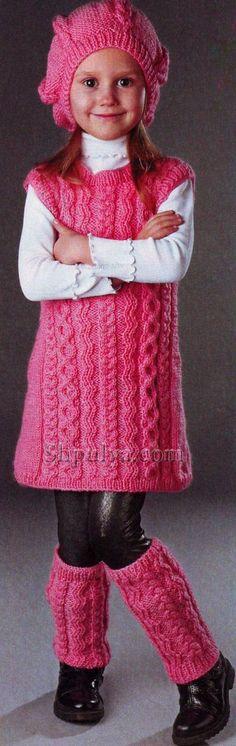 Платье, гетры и берет розового цвета спицами