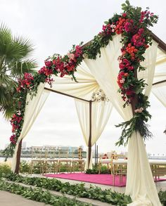 New garden wedding ceremony ideas altars flower ideas Wedding Mandap, Wedding Ceremony, Wedding Receptions, Ceremony Arch, Wedding Dresses, Mandap Design, Outdoor Wedding Decorations, Hall Decorations, Outdoor Decor