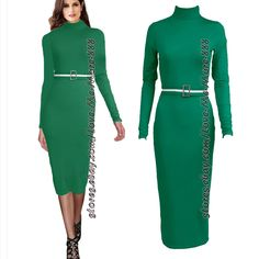 Womens Solid Basic Party Long Sleeve High Neck Slim Fit Belt Dresses Green Small
