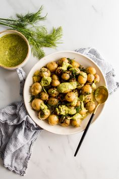 Boiled Baby Potatoes With Garlic Butter And Dill in a white bowl, topped with green tarragon sauce Whole 30 Recipes, Side Dish Recipes, Veggie Recipes, Real Food Recipes, Dinner Recipes, Potato Recipes, Vegetarian Side Dishes, Healthy Side Dishes, Healthy Sides
