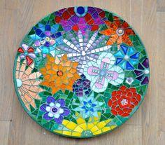 Schaal glas mozaiek bloemen van mimosaico op Etsy