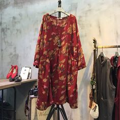 Women Floral printed cotton linen loose dress for a comfortable look