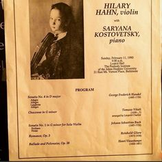 A blast from the past! Hilary's recital program at Peabody Conservatory in George Frederick Handel, G Minor, Johns Hopkins University, Recital, Classical Music, Violin, Composers, Conservatory, Spy