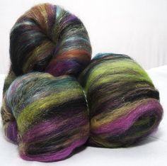 Spinning fibre Felting batts hand carded, Merino, hand dyed Mohair locks, gold Firestar