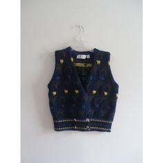 Vintage Jayson Younger Navy Floral Print Striped Preppy Wool Sweater Vest Sz Medium