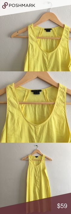 Theory Bright Yellow Shift Dress Sz 2 ❌NO TRADES❌  - Theory Bright Yellow Shift Sundress Sz 2  - Bright yellow lightweight shift dress  - 62% Linen, 36% Viscose, 2% Spandex; unlined  - Great used condition. Small marks on front & back (see photos)  - I am pregnant, so this does not fit. Theory Dresses
