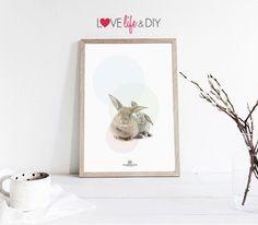 Bubble rabbits bunny Printable DIY Home Poster Print / illustration Nursery, Baby, child cute, Animal wall decor Instant Digital Download