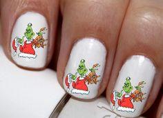 20 pc How The Grinch Stole Christmas Winter Season Nail Art Nail Decals #cg2106na