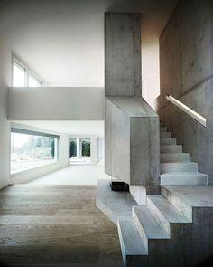 Villa Ensemble Near Zurich, Switzerland by AFGH Architects. Photo by Valentin Jeck. Architecture Design, Concrete Architecture, Barcelona Architecture, Computer Architecture, Interior Stairs, Interior And Exterior, Interior Design, Espace Design, Concrete Interiors