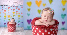 Newborn Photographer.  Valentines Raining Hearts.