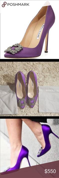 05c3aa517e64a Manolo Blahnik Hangisi Satin 105 Pumps 100% Authentic Guaranteed Originally  $995 Comes with shoe bag