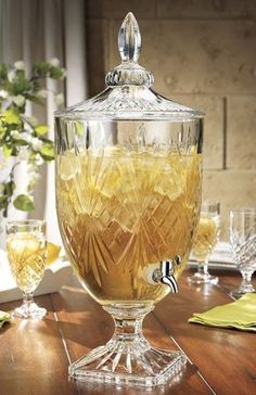 Classic Hostess's extensive collection of stylish glass beverage dispensers, beautiful cake stands and unique storage kitchen canisters, are great for weddings, parties & your home. Juice Dispenser, Glass Beverage Dispenser, Think Food, Apothecary Jars, Beautiful Cakes, Dinnerware, Beverages, Food And Drink, Dessert