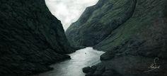 Photobash Canyon Environment , Martin Seidl on ArtStation at https://www.artstation.com/artwork/aVmYL