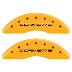 MGP Set of 4 Caliper Covers with Engraved Front and Rear (C6/Corvette), Yellow Powder-Coat Finish and Black Characters