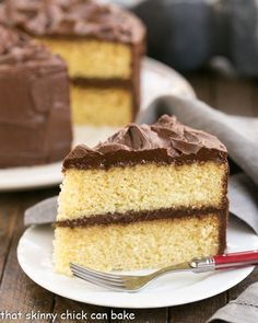 Perfect Yellow Cake Recipe with Chocolate Buttercream   An exquisite, tender yellow cake topped with dreamy chocolate frosting!