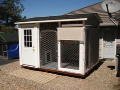 Lady's Place, Lady's indoor outdoor dog house with air conditioned and heated bedroom. A inclosed porch complete with ceiling fan, covered window openings and sun screens. Internet controlled power for her temperature controls and pan tilt and zoom intern Large Dog House Plans, Small Dog House, Build A Dog House, Outdoor Dog, Indoor Outdoor, Insulated Dog House, Cool Dog Houses, Dog Rooms, Heating And Air Conditioning