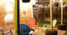 An Ideas About Patio & Lighting: DIY Patio Area with Texas Lamp Posts | Add a patio with fun planter posts to a backyard area.