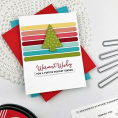 Just Dandy Studio: Papertrey Ink - November Release Countdown - Day 3 Christmas Tree Cards, Holiday Cards, Christmas Ideas, Ink Stamps, Hello Beautiful, Holiday Festival, Rainbow Colors, I Card, November