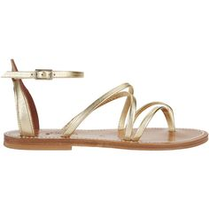 Epicure Metallic Gladiator Sandals (1.150 RON) ❤ liked on Polyvore featuring shoes, sandals, metallic, flat sandals, strap sandals, flat leather sandals, metallic gold sandals and gladiator sandal