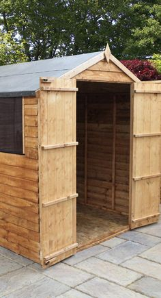 Wooden Storage Shed With Styrene Windows And Double Door