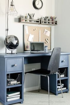 Denim Look Desk Makeover | Chalk paint, soft wax, new hardware and wire storage baskets turn a desk headed for the trash into a stylish and functional boy's desk | http://personallyandrea.com
