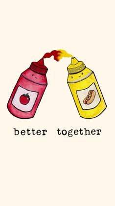 cute but mustard and ketchup are so not better together. Cute Food Wallpaper, Wallpaper Pictures, Cartoon Wallpaper, Wallpaper Ideas, Cute Food Drawings, Kawaii Drawings, Easy Drawings, Cute Backrounds, Best Friend Wallpaper