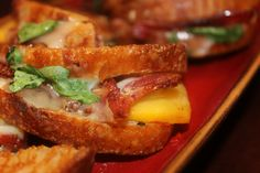 Bacon, Havarti, Fresh Peach, arugula, Kelly's Jelly Habanero Pepper Jelly grilled...delicious!