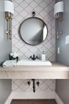 Small bathroom with floating vanity. Tiles