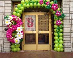 Amazing pink & green Tinkerbell balloon arch - pink and green birthday party Balloon Gate, Balloon Columns, Ballon Arrangement, Deco Ballon, Mermaid Balloons, Trolls Birthday Party, Tinkerbell Party, Balloon Flowers, Number Balloons