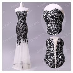 new Black Lace Prom Ball Cocktail party wedding dress Bridal Formal... ❤ liked on Polyvore featuring dresses, gowns, formal evening gowns, bridal ball gowns, evening gowns, bridal gowns and lace evening dresses