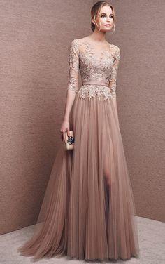 [$169.99] A-Line Bateau Half Sleeve Empire Zipper Prom Floor-Length Tulle Formal Dresses