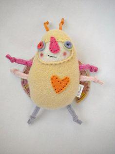 Stuffed Animal Bug Yellow Cashmere Sweater Scraps Repurposed