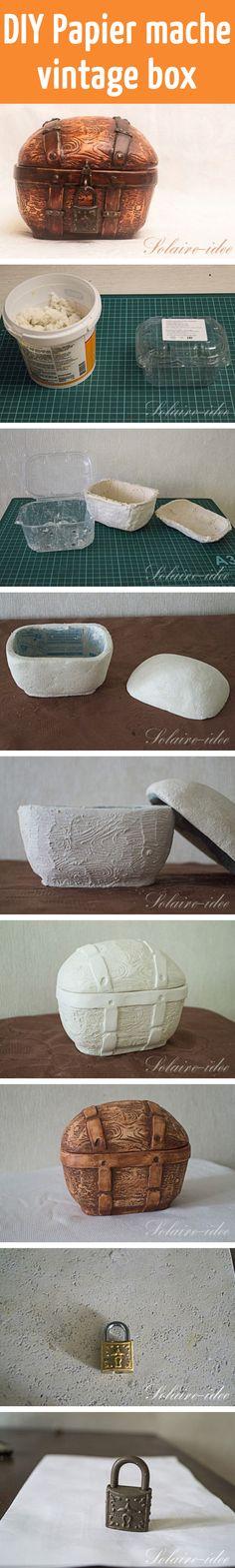 DIY Papier mache vintage box